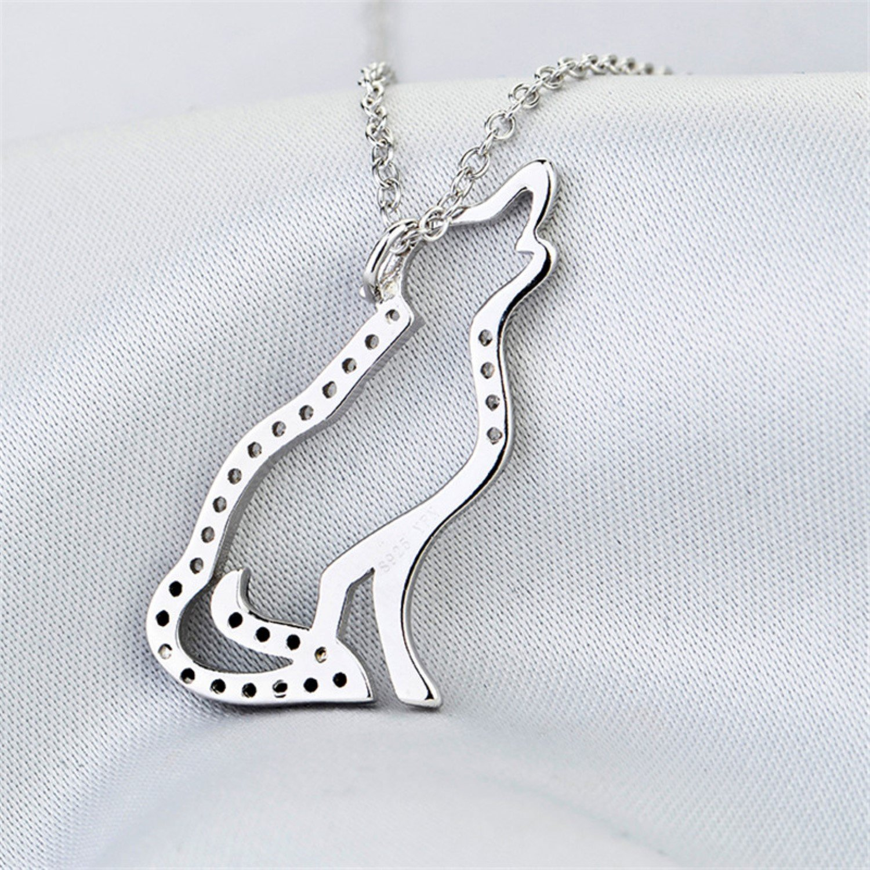 CS-DB Jewelry Ladies Black White Cubic Zirconia Wolf Silver Pendant Top Stylish