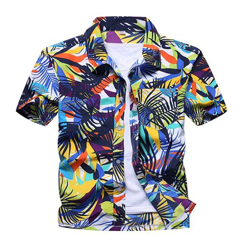 SDHEIJKY Causal Summer beach shirt mens print short sleeve loose shirt