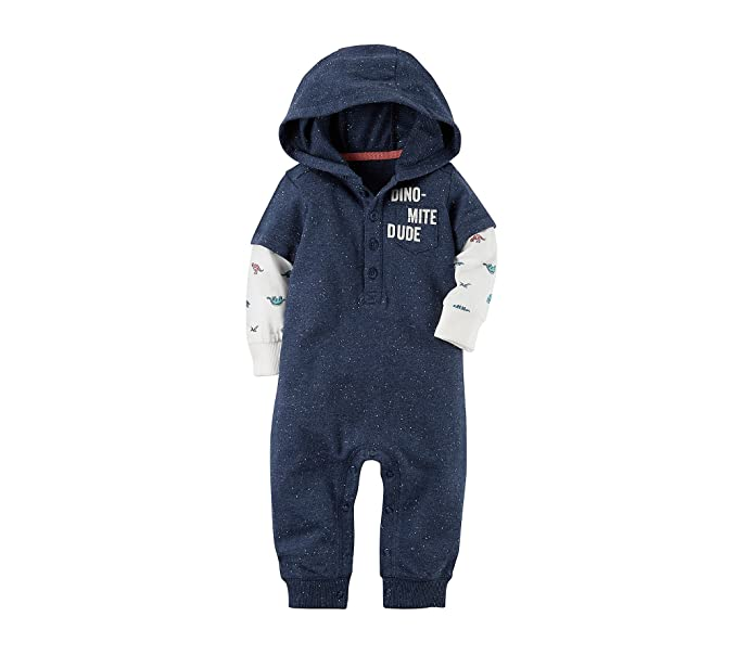 3b08ed10285 Amazon.com  Carter s Baby Boys  Hooded Dinomite Dude Jumpsuit  Clothing