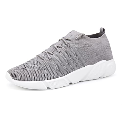 WXQ Men's Running Shoes Fashion Breathable Sneakers Mesh Soft Sole Casual Athletic Lightweight Walking Shoes Gray 42