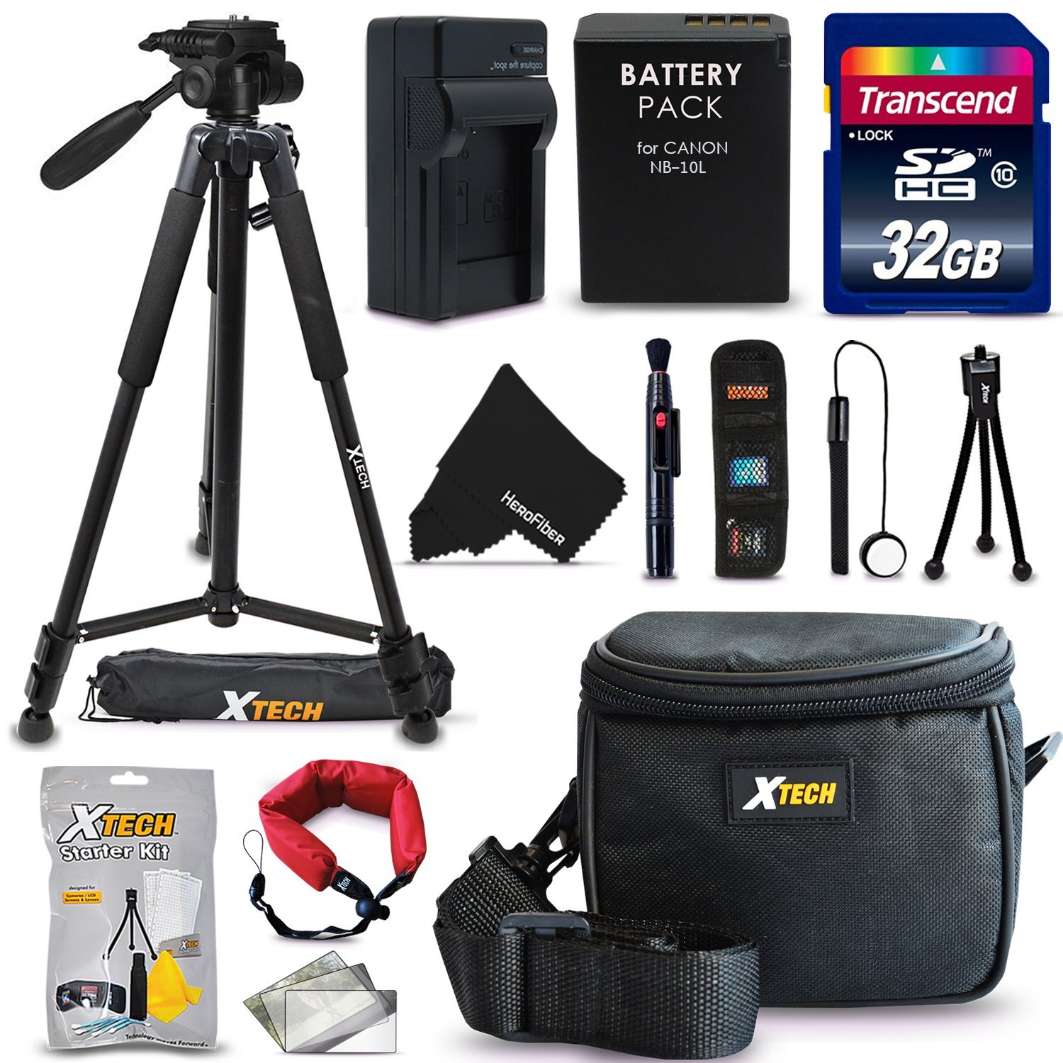 """Ultimate 20 Piece Accessory Kit for Canon Powershot SX60 HS, SX50 HS, SX40 HS, G1X, G16, G15 Digital Cameras Includes: 32GB High Speed Memory Card + 1 High Capacity NB-10L / NB10L Lithium-ion Battery with Quick AC/DC Charger + 60"""" Inch Full Size Tripod"""