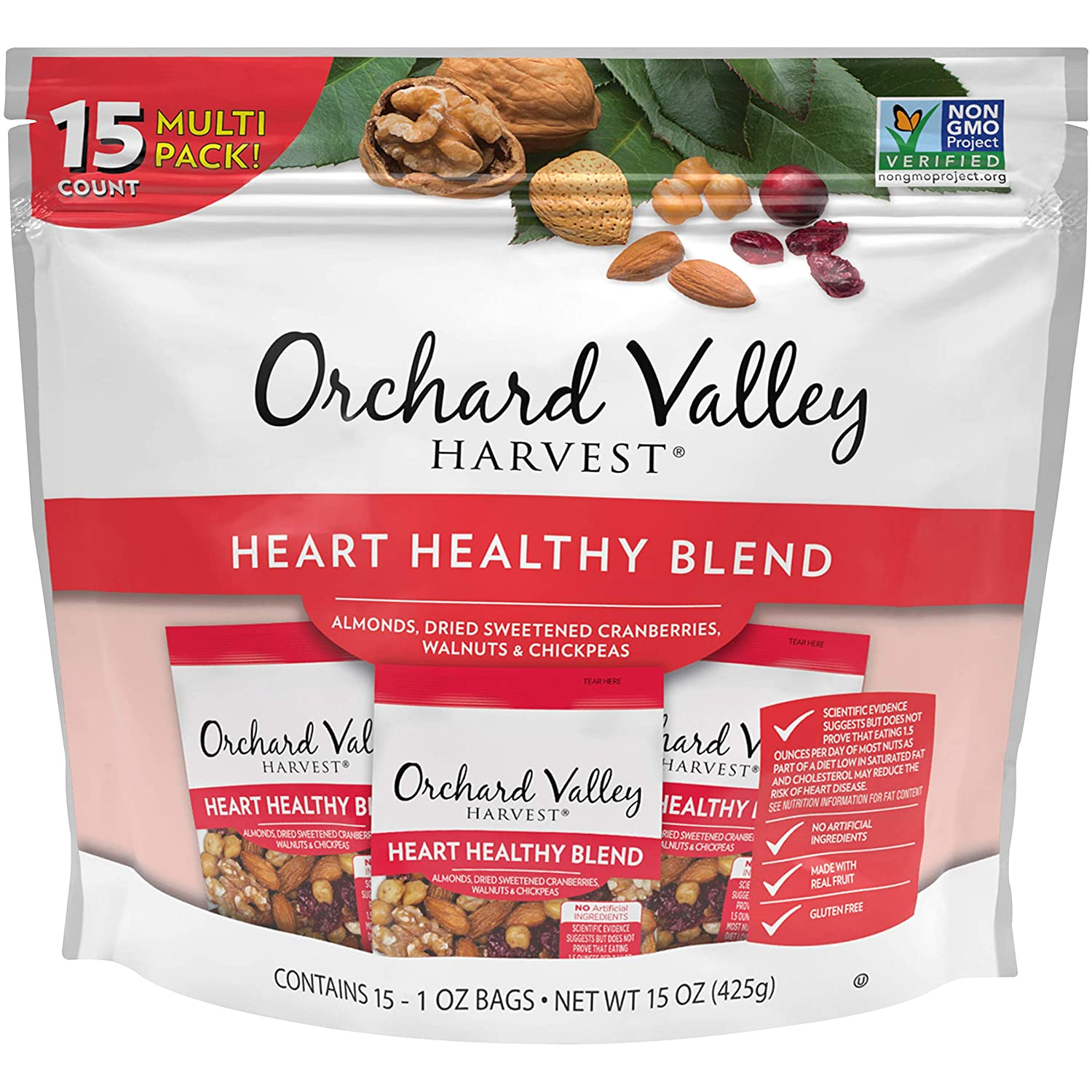 ORCHARD VALLEY HARVEST Heart Healthy Blend, 1 oz (Pack of 15), Non-GMO, No Artificial Ingredients