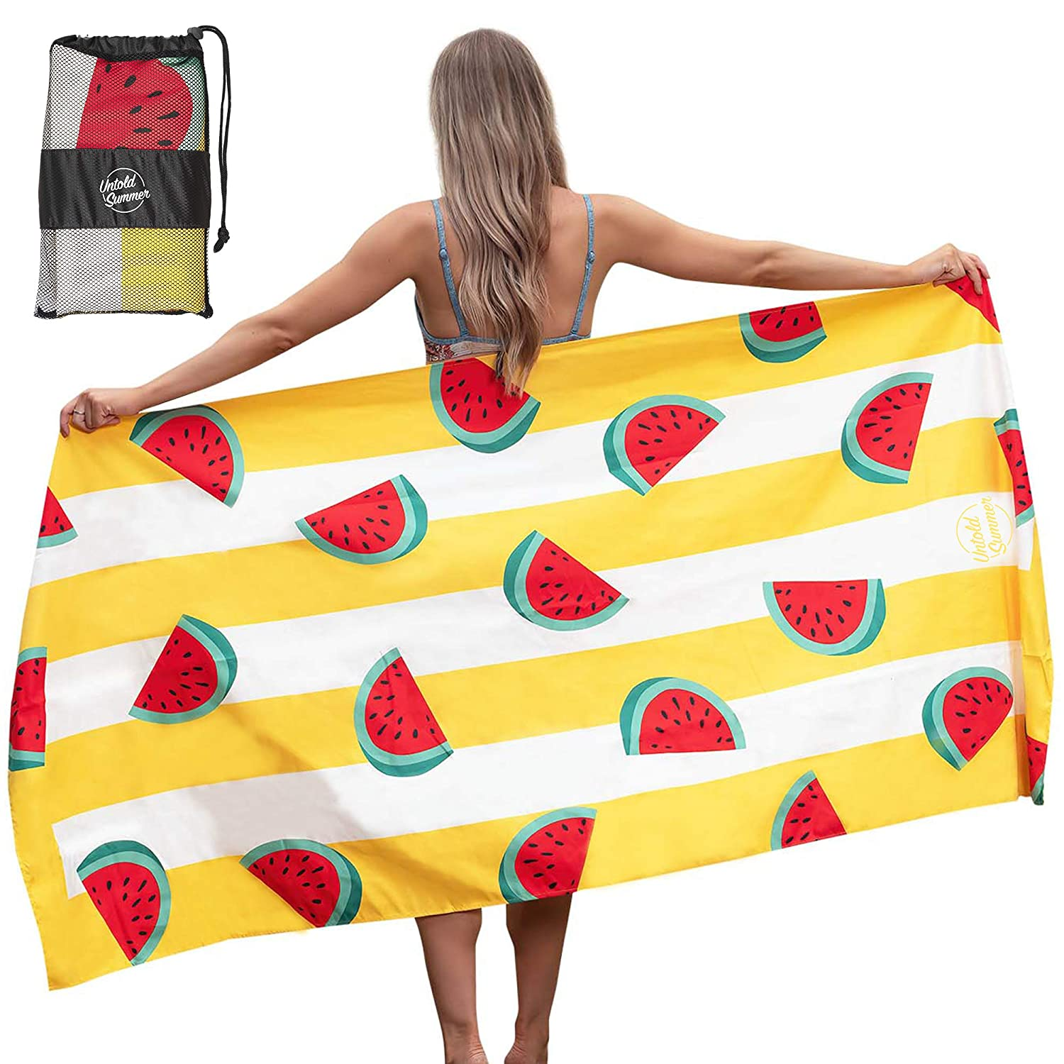 Quick Dry Perfect for When You Camp Untold Summer Travel Watermelon and Banana Designs Sandfree and Lightweight Microfiber Swim Towel Oversized Beach Towel in Flamingo Beach and Pool