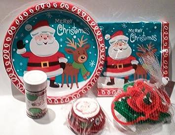 Holiday Santa Baking Bundle 5 Items - Santa Paper Plates Santa Napkins Wilton Santa & Holiday Santa Baking Bundle 5 Items - Santa Paper Plates Santa ...