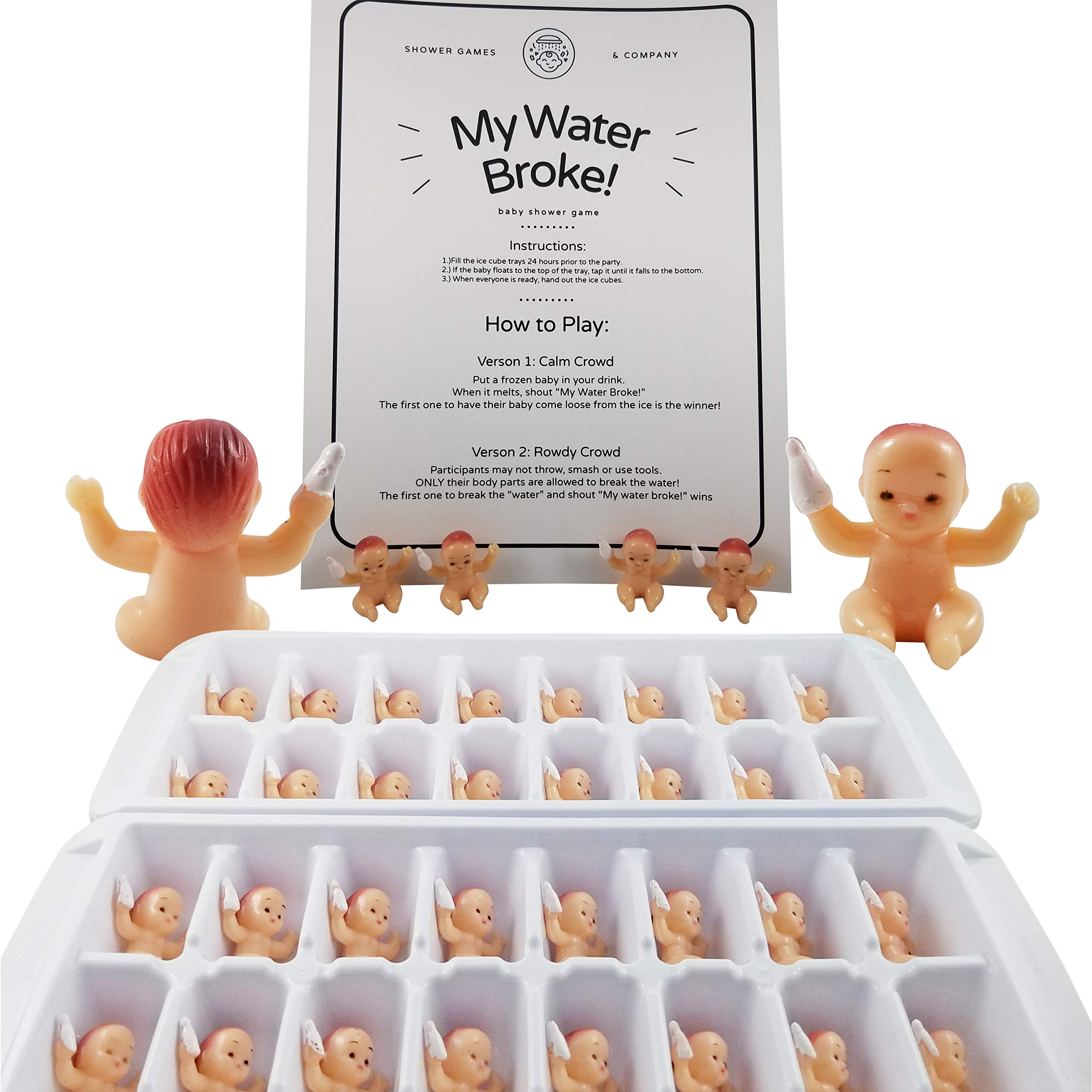 My Water Broke Baby Shower Game with Tiny Babies for Ice Cubes, Caucasian, 32 People