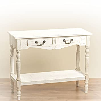 Nice The French Country Style 2 Drawer Console Table, Shabby Chic Distressed  Finish, Creamy Wood
