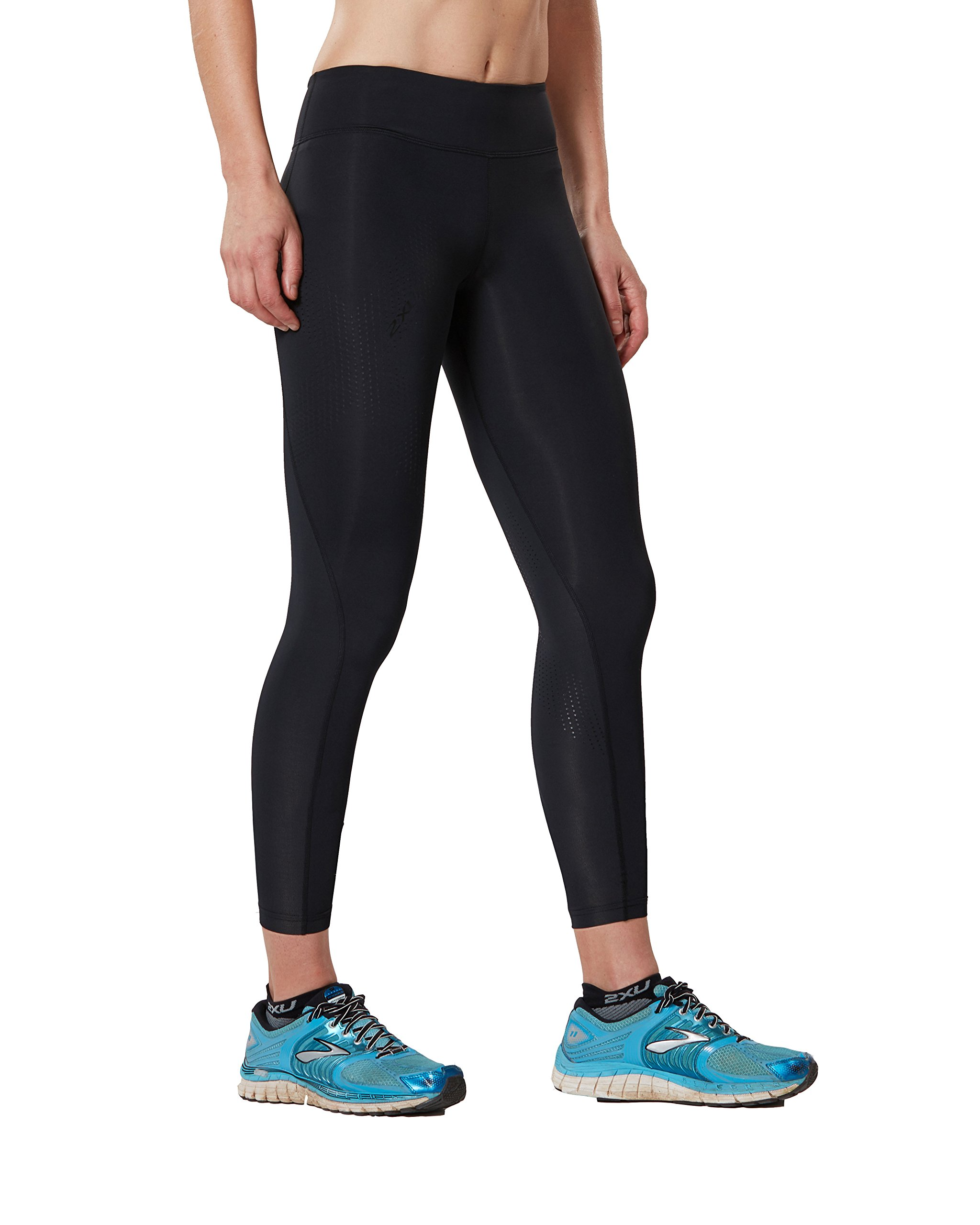 2XU Women's Mid-Rise 7/8 Compression Tights, Black/Dotted Black Logo, X-Small