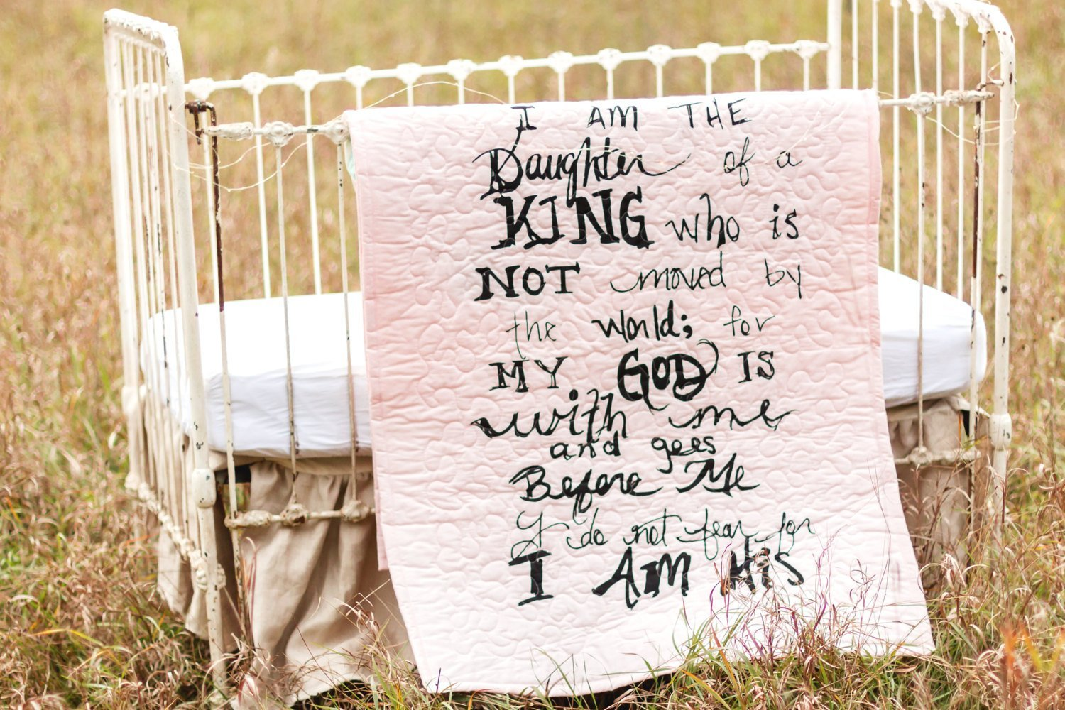 I am his pink - Linen Crib Quilt Baby Bedding - 36x45