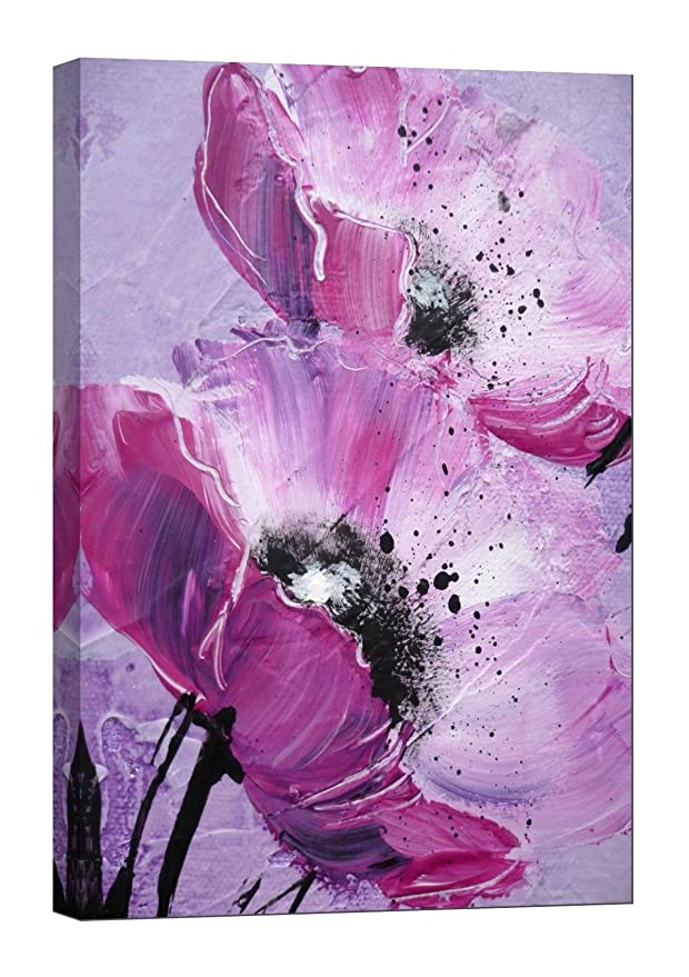 Purple Flower - pink led canvas lighted wall art