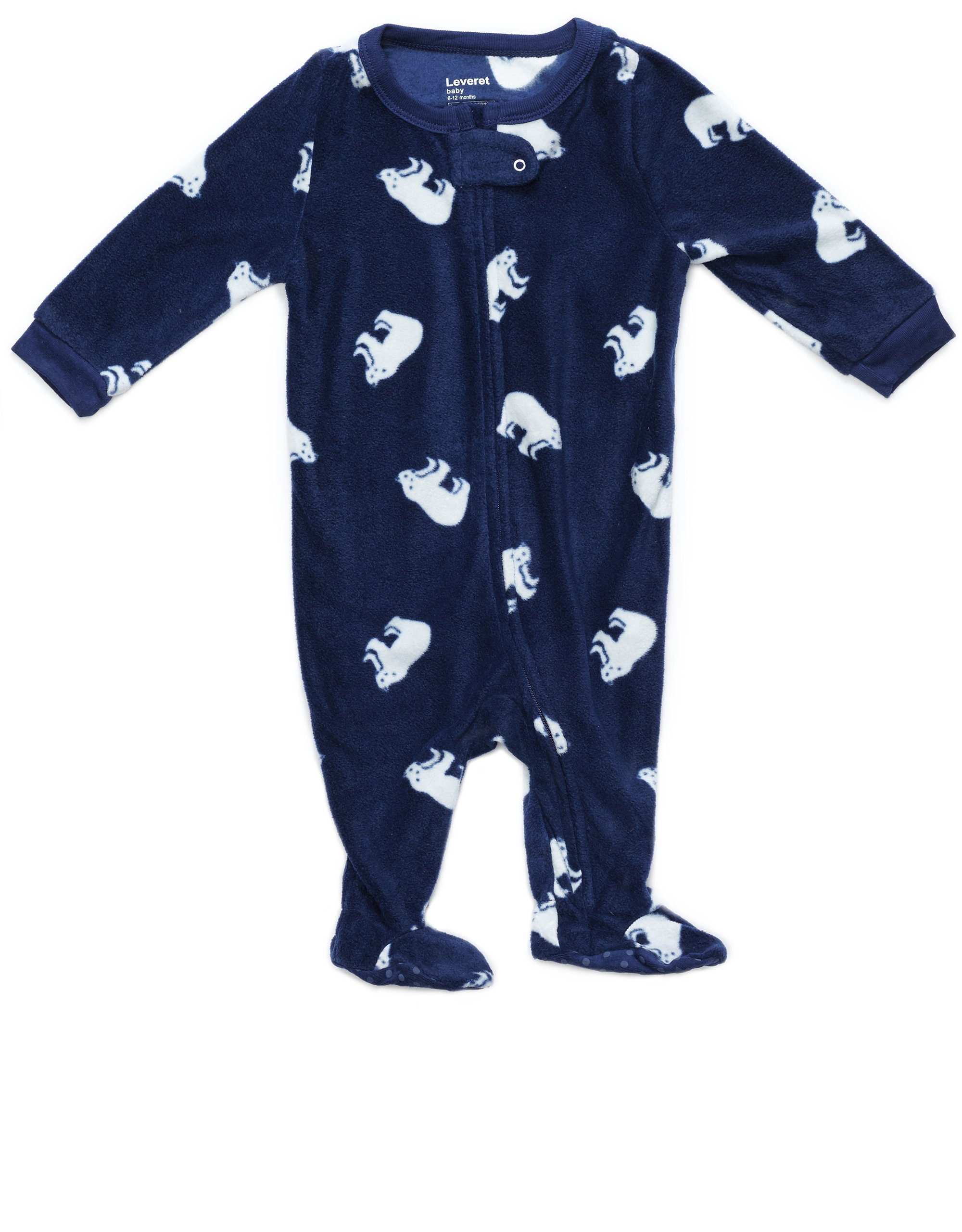 Size 6M-5T Leveret Baby Boys Blue//Green Striped Fleece Footed Sleeper Pajama