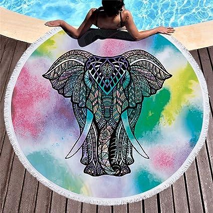 Cotangle Secado rápido Toalla de Playa Redonda Elefante Microfibra Bellota Flecos Alfombra de Yoga Tapiz Dulce