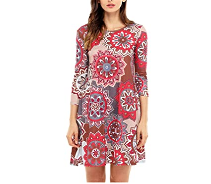 Yuzhongywan Women Vintage Dresses 3/4 Sleeve Casual Boho Sunflower Print Loose O-Neck