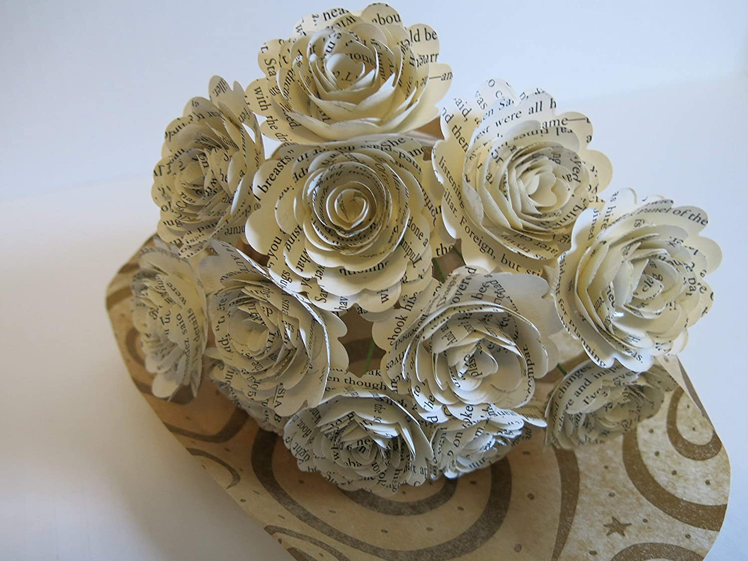 Scalloped Classic Book Page Roses on Stems, Paper Flowers Bouquet, One Dozen Paper Roses, 1.5