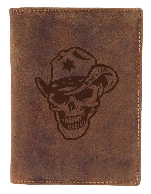 Ausweismappe aus Leder Greenburry Biker Leder-Ausweish/ülle mit Totenkopf Lederh/ülle mit Skull Motiv