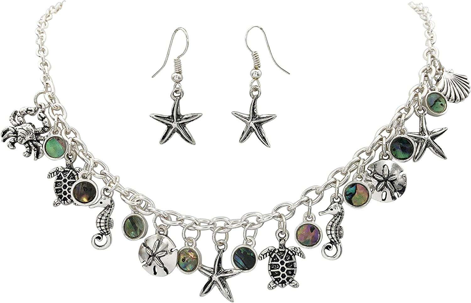 Gypsy Jewels Starfish Textured Sealife Nautical Boutique Statement Necklace /& Dangle Earrings Set