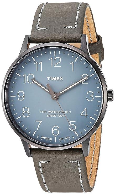 Amazon.com: Timex Unisex TW2P96000 Waterbury Classic 40mm Steel Grey Leather Strap Watch: Watches