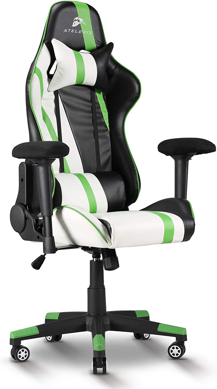 Atelerix Ventris Gaming Chair Office or Computer Chair Fabric /& Extra Wide Options Headrest /& Lumbar Support PU Leather Tilting /& Ergonomic Adjustable Swivel Game Chair w// 4D Covered Armrests
