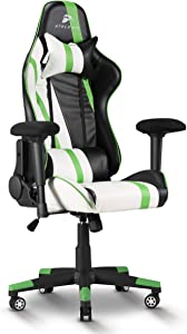 Atelerix Ventris Gaming Chair - PU Leather, Fabric, & Extra Wide Options - Office or Computer Chair - Tilting & Ergonomic Adjustable Swivel Game Chair w/ 4D Covered Armrests, Headrest & Lumbar Support