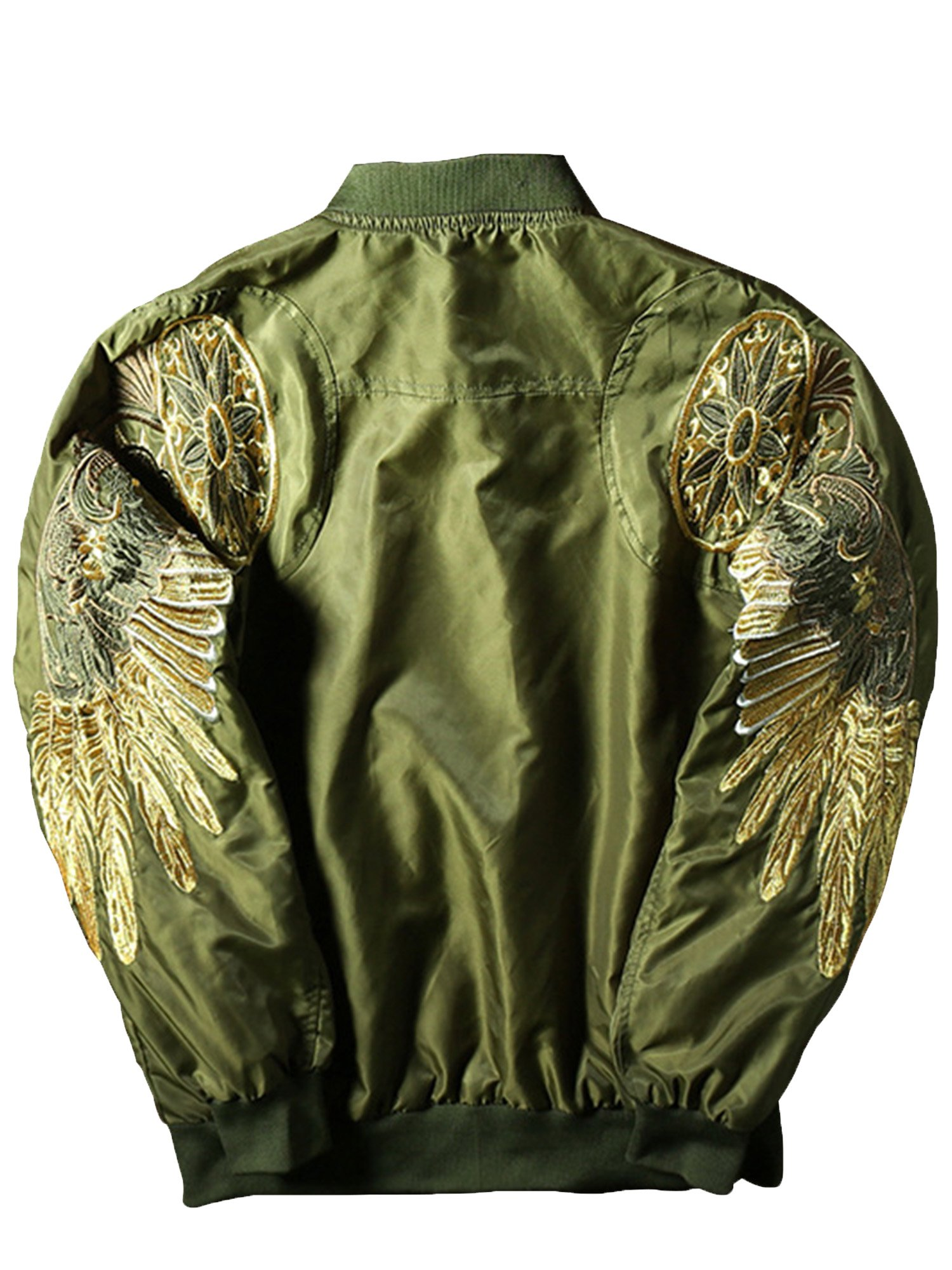 Bestmail Mens Wings Embroidered Classic Bomber Flight Jacket