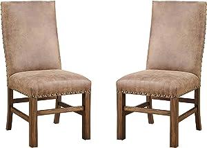 Emerald Home Furnishings Chambers Creek Dining Chair, 2-Pack, Rustic Pine