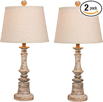 Cory Martin W 6240cabg 2pk Fangio Lighting S 6240cabg 2pk Pair Of 26 5 In Distressed Candlestick Resin Table Lamps In A Cottage Antique Beige Finish 2 Piece Amazon Com