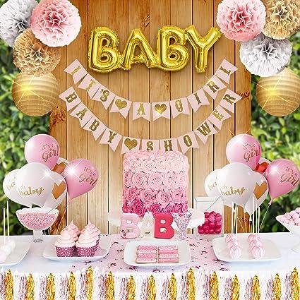 Amazon.com: Bebé niña Juego de decoraciones de fiesta de ...