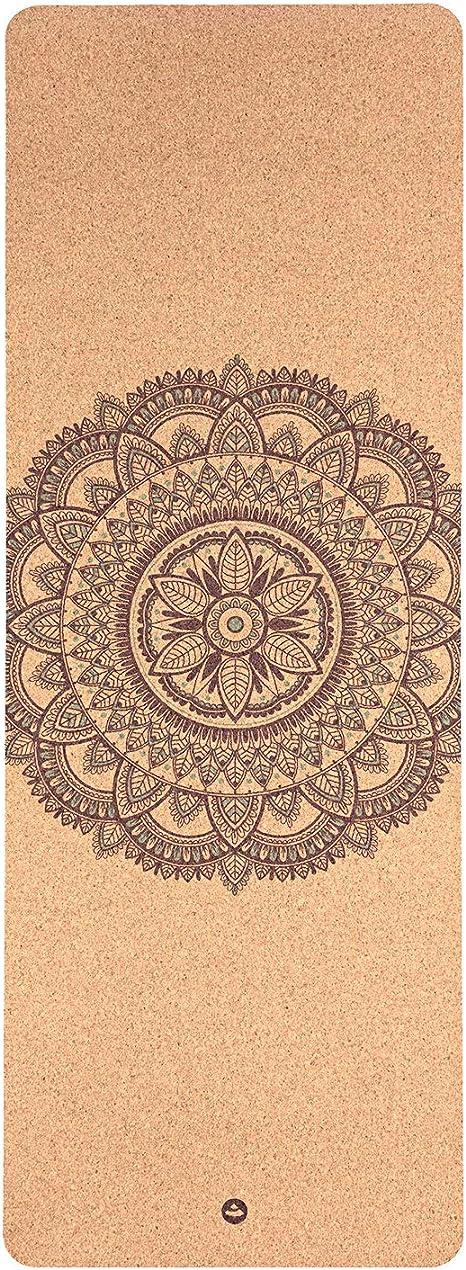 Tapete de Yoga cortiça natural revestido com borracha natural, ecológico, premium, aderência máxima 185 x 66cm 4mm (Mandala)