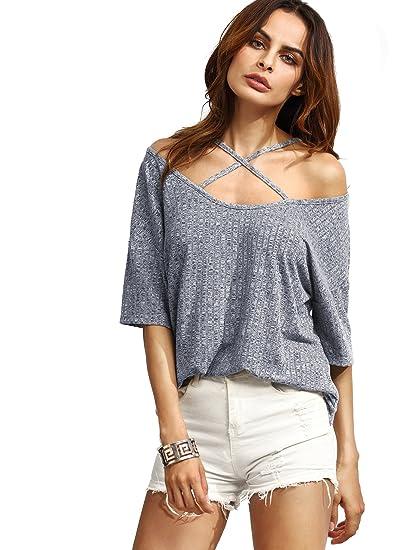 d6d15e5599 SheIn Women's Crisscross Cold Shoulder Half Sleeve T-Shirt - Dark Grey  X-Small