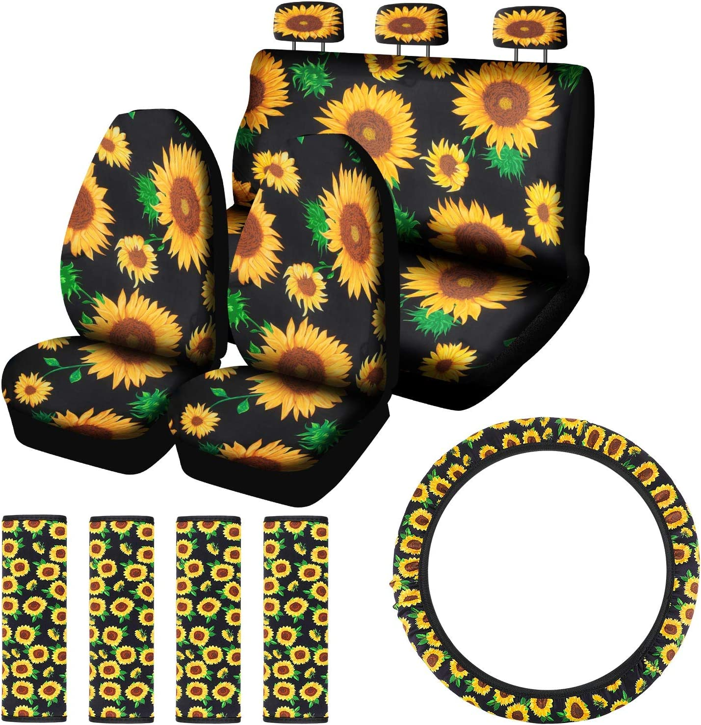 BBTO 8 Pieces Sunflower Car Accessories Set 7 Pieces Sunflower Car Front Seat Covers and Car Steering Wheel Cover for Auto Decoration