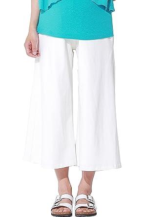 Sweet Mommy Maternity Cotton Gaucho Capri Pants White, L at Amazon ...