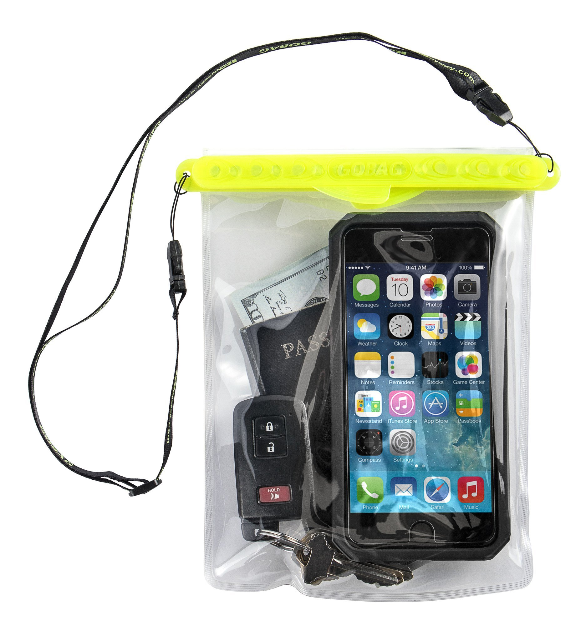 Go Bag Mako Dry Bag #1 Secure Air Tight Self-Sealing Magnetic Waterproof Case to 100 ft. Hermetic Seal Cell Phone Touchscreen Sensitive 7.5'' x 5.75'' Fits iPhone 6,7 8 + Plus (Yellow) by Go Bag (Image #2)
