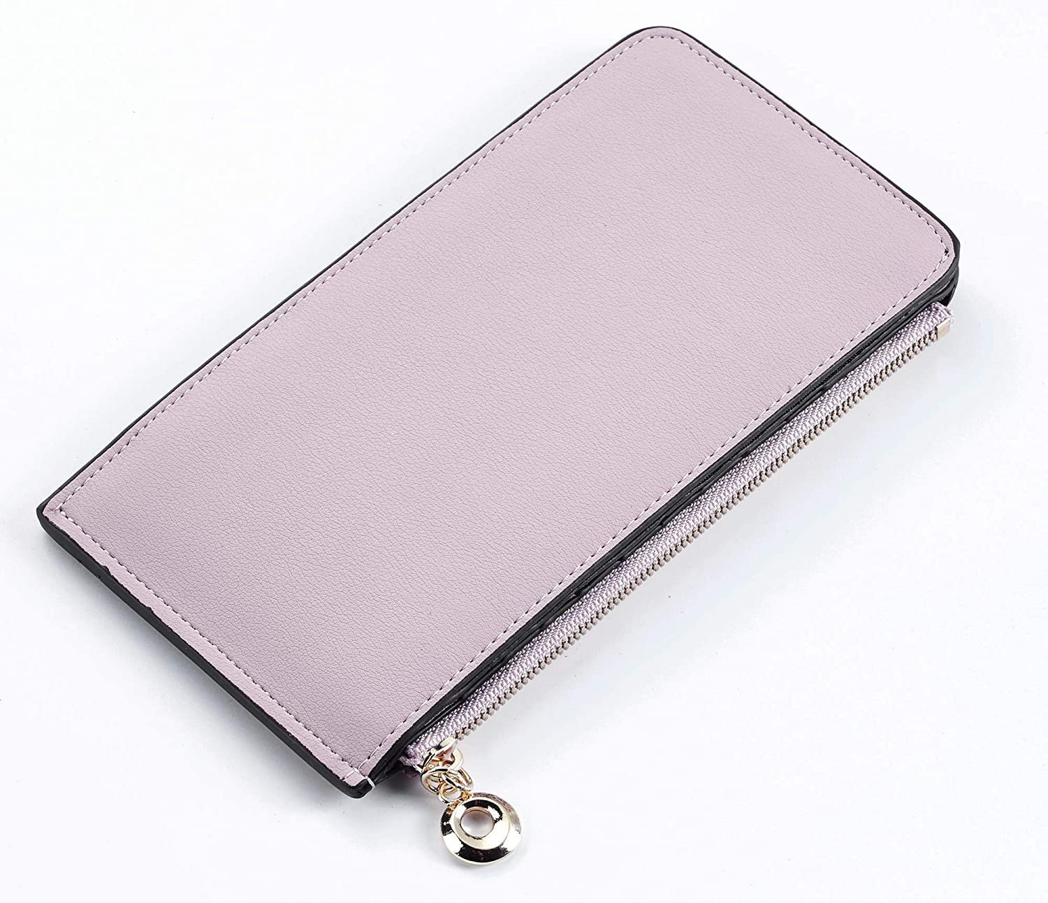 Toughergun Womens RFID Blocking Genuine Leather Multi Card Organizer Wallet with Zipper Pocket