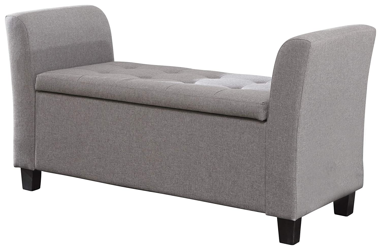 Home Source Ottoman Window Seat Grey Chenille Fabric Toy Bedding Storage Box Verona