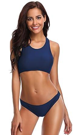 68026694589 SHEKINI Women's Sport Patchwork Racerback Bikini Cheeky Bikini Bottom Two  Piece Swimsuit Suits (Small/