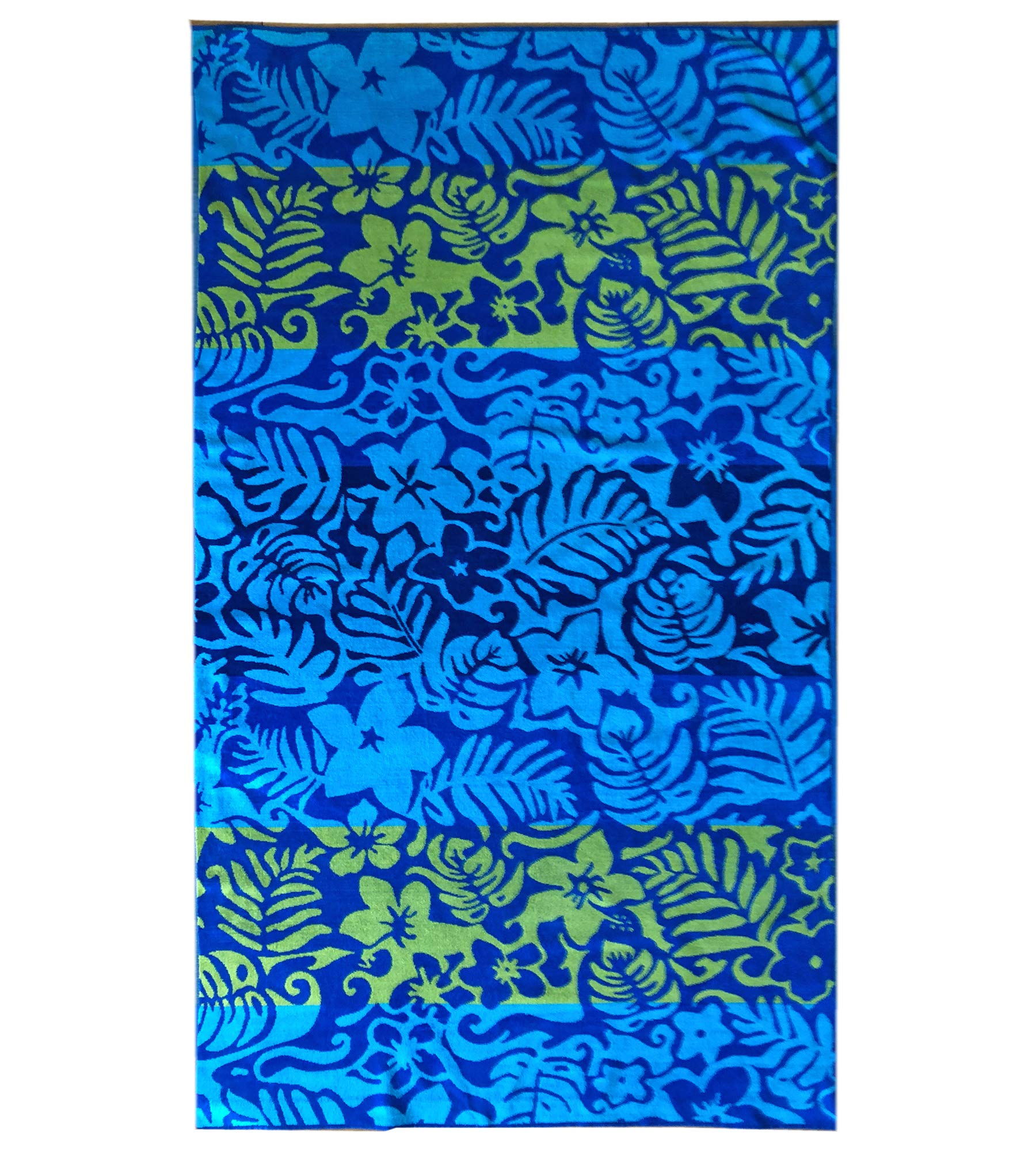 Espalma Over Sized Luxury Beach Towel, Large Size 70 Inch x 40 Inch Soft Velour and Reversible Absorbent Cotton Terry, Thick and Plush Jacquard Beach Towel, Blue Luau Floral