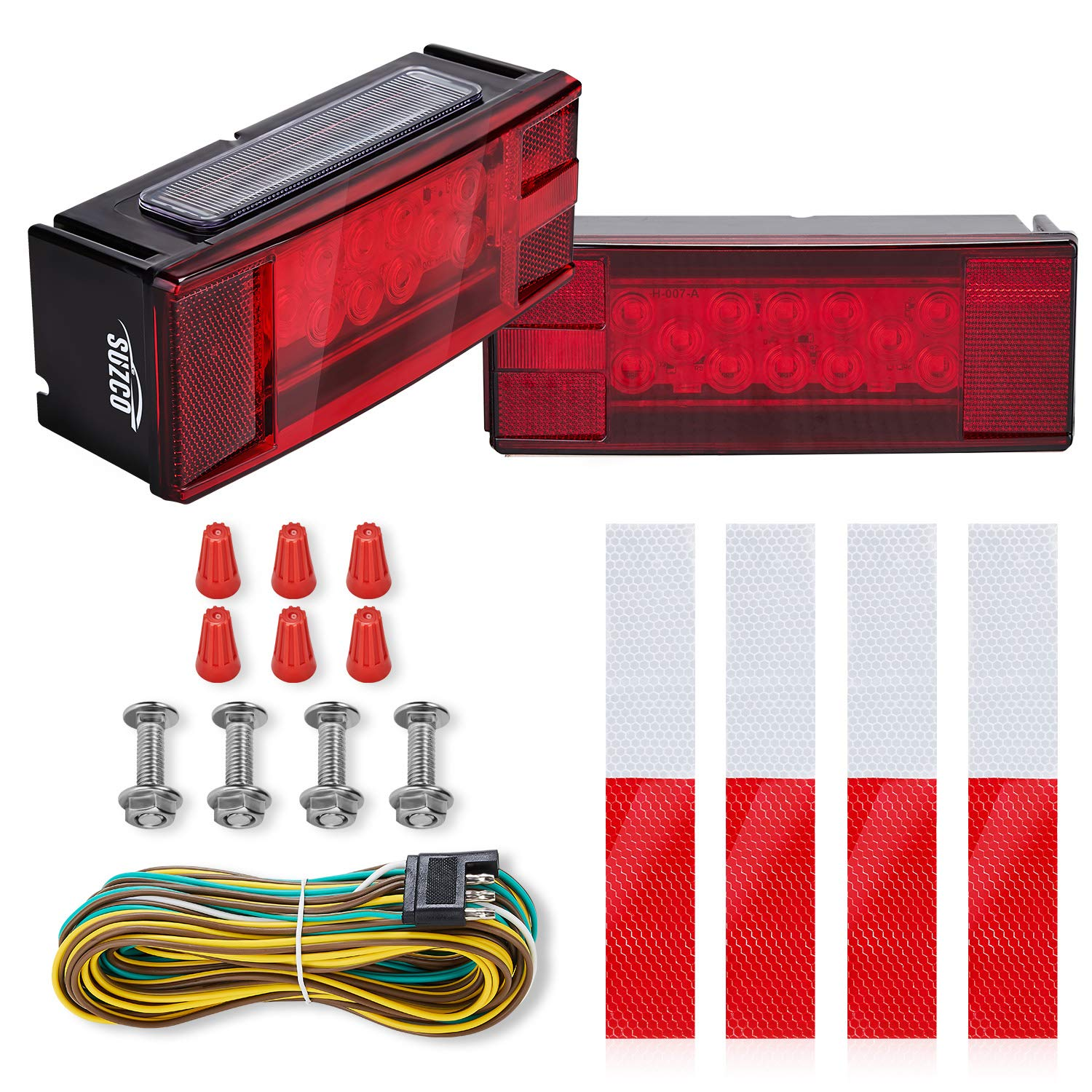SUZCO Marine Boat Led Trailer Tail Wiring Lights Kit Submersible 12V, Low Profile Sealed Universal Assembly Waterproof Over 80'' Travel Light Set for Auto RV Truck Camper Snowmobile Rollers by SUZCO