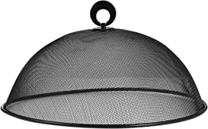 Hemoton Mesh Food Cover Stainless Steel Mesh Screen Food Tent Dining Table Round Umbrella Reusable Outdoor Picnic Food Lid Anti Fly Bugs Mosquitoes 11.8-Inch (Black)