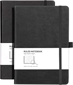 RETTACY Lined Journal Notebook Hardcover 2 Pack - A5 College Ruled Writing Notebook with 376 Numbered Pages,100gsm Thick Paper ''5.75 × 8.38''