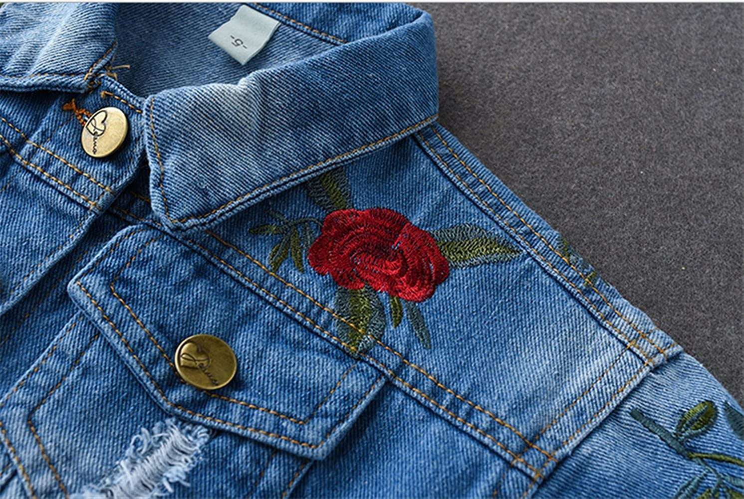 Kids Baby Girls Floral Embroidered Denim Jacket Casual Baseball Jeans Coats Outwear