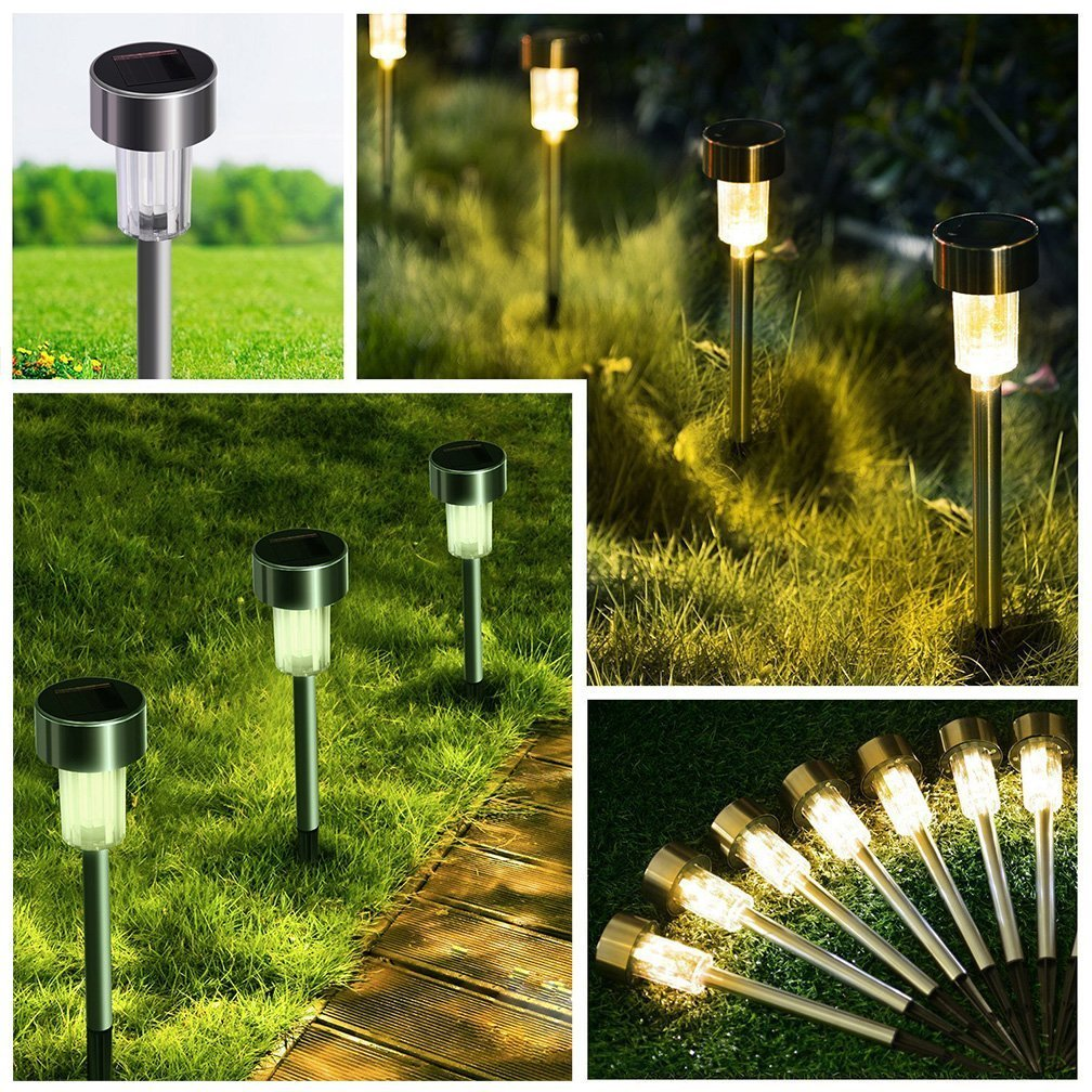 Solar Path Lights Outdoor Stainless Steel - 12 Pack Bright Solar Garden Illumination for Pathway Driveway Lawn Landscape Patio Yard (Silver) by kinna (Image #5)