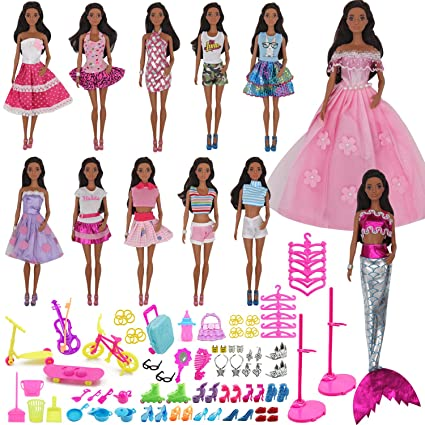 e402eb3f192fe4 ZTWEDEN 90Pcs Doll Clothes and Accessories for Barbie Dolls Set Contain 10  Different Handmade Party Doll