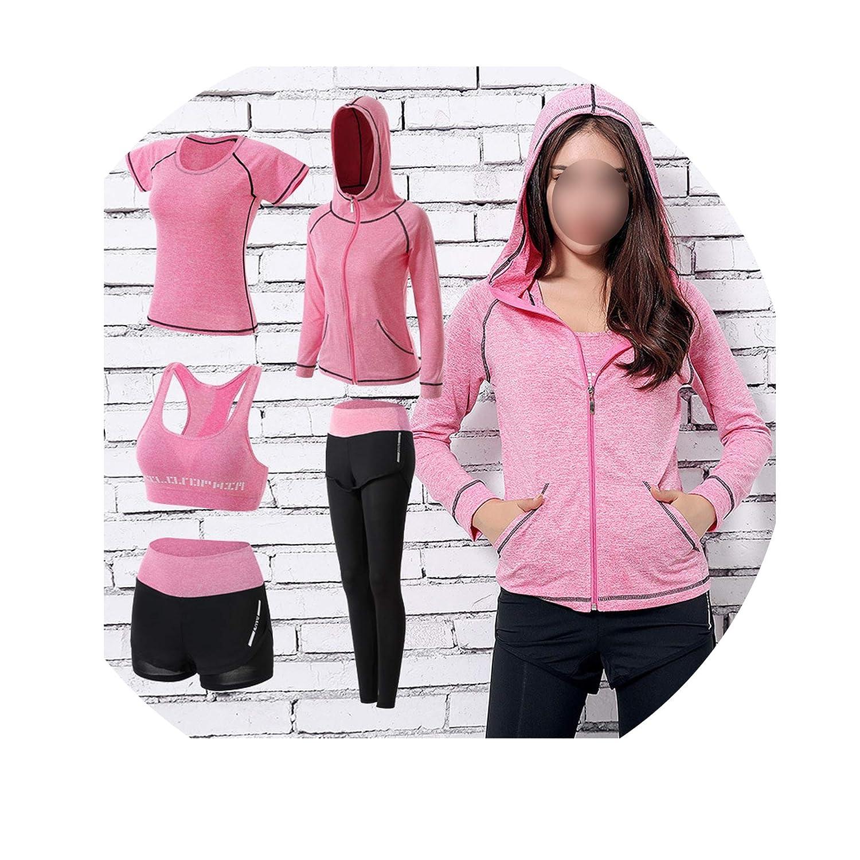 5pcs pink XXXLarge Talk about heaven Womens Yoga Sets Five 5 Pieces Set Training Sports Sets Female Workout Clothes for Women Sportswear
