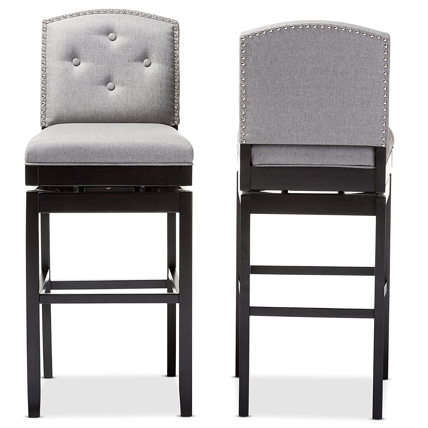 Amazon.com: Baxton Studio Ginaro Modern U0026 Contemporary Fabric Button Tufted  Upholstered Swivel Bar Stool (Set Of 2), Grey: Kitchen U0026 Dining