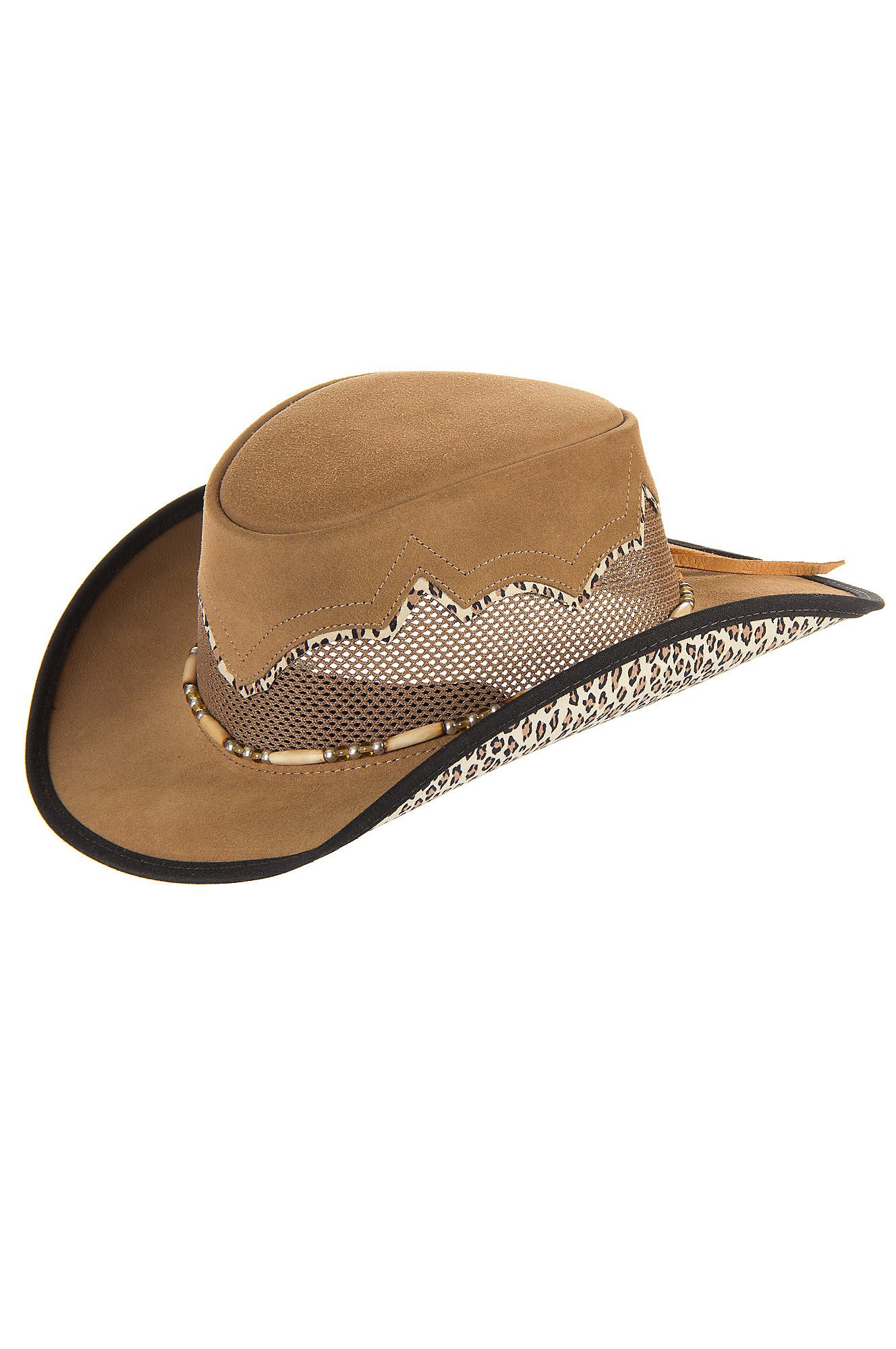 "Women's Sierra Suede Breezer Cowboy Hat, BEIGE/CREAM LEOPARD, Size S (21.5"" circumference) by Overland Sheepskin Co"