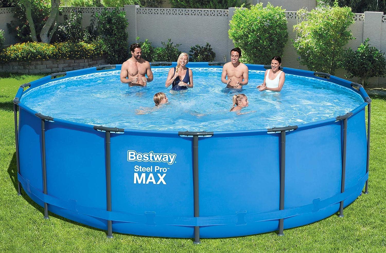 Bestway Steel Pro MAX Frame-Pool 457 x 457 x 122 cm 16.015 Liter ohne Pumpe und Zubeh/ör blau Ersatzpool rund Ersatzteil