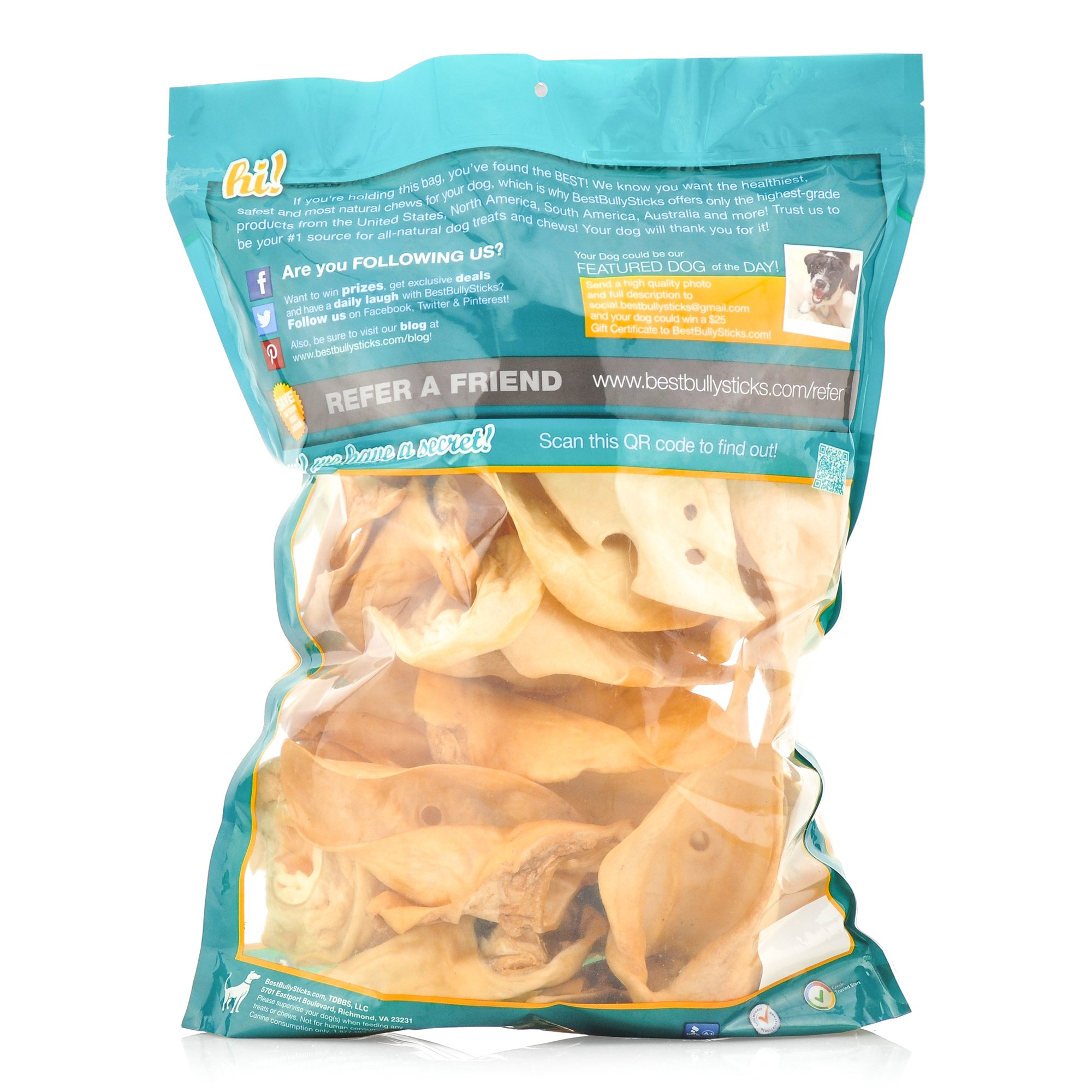 Best Bully Sticks Prime Thick-Cut Cow Ear Dog Chews by (12 Pack) Sourced From All Natural, Free Range Grass Fed Cattle with No Hormones, Additives or Chemicals - Hand-Inspected and USDA/FDA Approved by Best Bully Sticks (Image #2)
