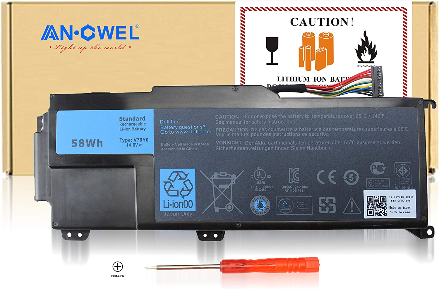 Angwel 14.8V 58WH XPS14Z Replacement Battery for Dell XPS 14z, XPS 14Z-L412x, XPS 14Z-L412z, XPS L412x, XPS L412z, Fit for V79Y0 V79YO YMYF6 0YMYF6-1 Year Warranty