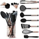 黑色和铜厨师 带不锈钢铜器支架 - 16 件套包括黑色和铜量勺,黑色和铜量杯