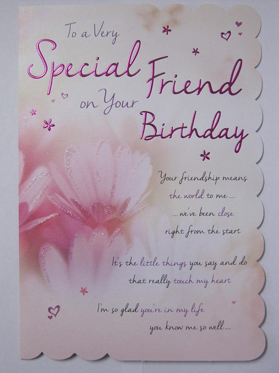 stunning top range wonderfully worded 5 verse very special friend birthday card amazoncouk kitchen home - Special Birthday Cards