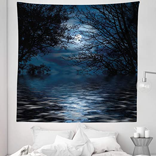 Witchcraft Spell Ceremony Atmosphere Forest Full Moon Branches Image 88 W X 88 L Inches Lunarable Night Sky Tapestry Queen Size Pale Blue Black Wall Hanging Bedspread Bed Cover Wall Decor